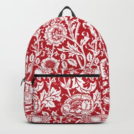 "William Morris Floral Pattern | ""Pink and Rose"" in Red and White Backpack"