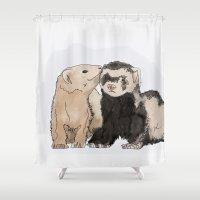 ferret Shower Curtains featuring Ferret Kisses by Dannie Ann