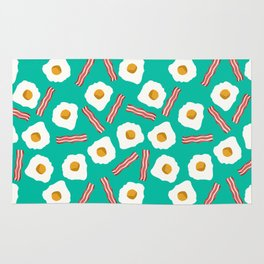 eggs and bacon breakfast food fight apparel and gifts teal Rug