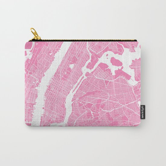 New York map pink Carry-All Pouch