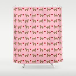 Labradoodle valentines day hearts dog breed pet pattern labradoodles Shower Curtain
