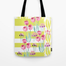 Tulips with yellow stripes Tote Bag