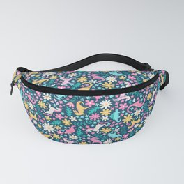 Floral Burst with Dinosaurs + Unicorns in Neon Fanny Pack