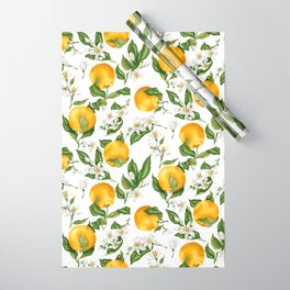 Citrus OrangeTree Branches with Flowers and Fruits Wrapping Paper