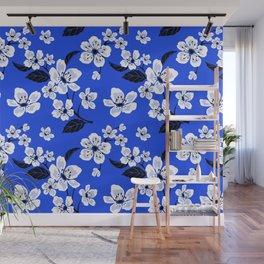 Blue Sakura Cherry Tree Flower Blooms - Aloha Hawaiian Floral Pattern Wall Mural