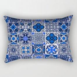 -A34- Blue Traditional Floral Moroccan Tiles. Rectangular Pillow