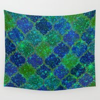 moroccan Wall Tapestries featuring Glitter Moroccan by Saundra Myles