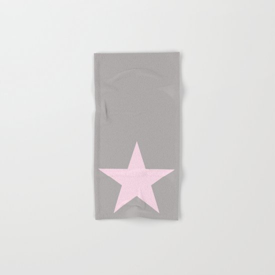 Pink star on grey backround Hand & Bath Towel