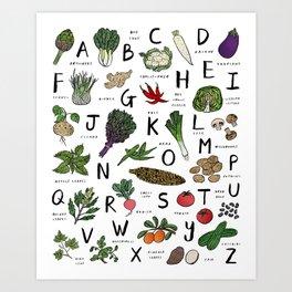 A-Z Veggies Art Print