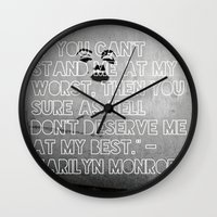 monroe Wall Clocks featuring Monroe by CATHERINE DONOHUE