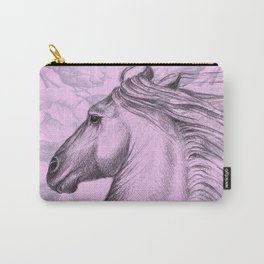 Horse On Pink Roses Carry-All Pouch