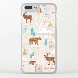 Woodlands on Brown Linen Clear iPhone Case