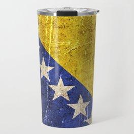 Vintage Aged and Scratched Bosnian Flag Travel Mug