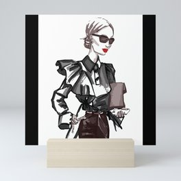 Business woman in cool fashion with sunglasses Mini Art Print