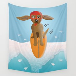 Surf Dog on Top of the Wave Wall Tapestry
