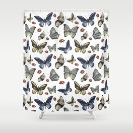 Butterfly and ladybird Shower Curtain