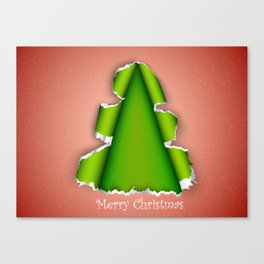 Christmas tree made of torn paper Canvas Print
