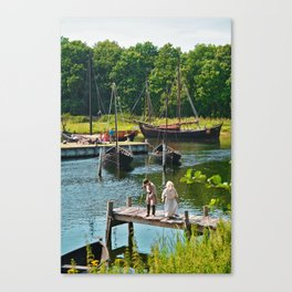 Old Viking Boats Canvas Print