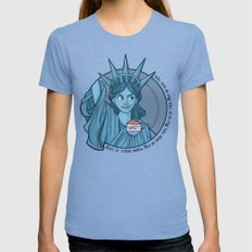 Nasty Lady Liberty Womens Fitted Tee LARGE Tri-Blue