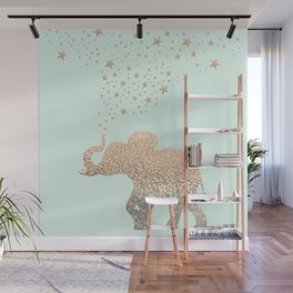ELEPHANT - GOLD MINT Wall Mural