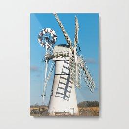 Traditional white windmill, Norfolk Broads Metal Print