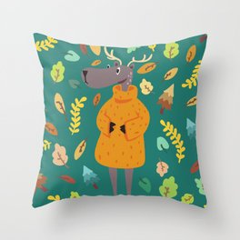 Le Petit Forêt- Mister Antlers Throw Pillow