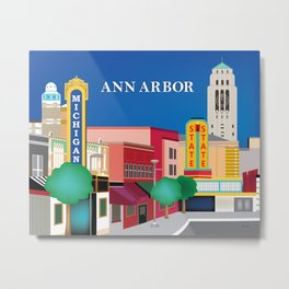 Ann Arbor, Michigan - Skyline Illustration by Loose Petals Metal Print