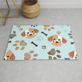 Cute Dog, Paw Print and Bone Funny Pattern Rug