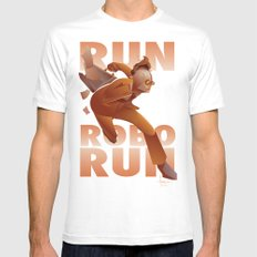 RUN ROBO RUN MEDIUM White Mens Fitted Tee