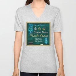 Teach Peace Blackboard Symbols Unisex V-Neck