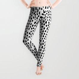 Spots black and white minimal dots pattern basic nursery home decor patterns Leggings