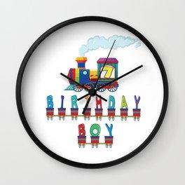 7th Birthday Boy Train 7 Years Old Kid Railway B-day Party graphic Wall Clock