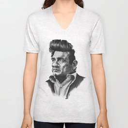 Johny Cash Caricature Unisex V-Neck