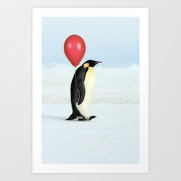Penguin with Red Balloon Art Print