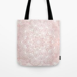 Mandala Yoga Love, Blush Pink Floral Tote Bag