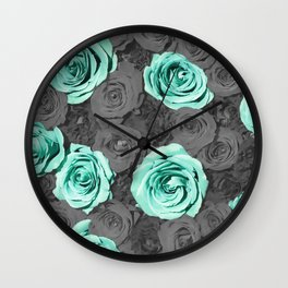 Teal Flower Wall Clock