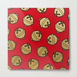 Jingle Bells Christmas Pattern in Gold & Red Metal Print