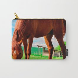 horse eating grass Carry-All Pouch