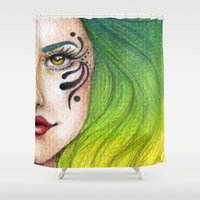 fierce Shower Curtains featuring Fierce  by StaceyPatinoArt
