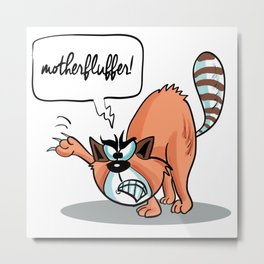 MotherFluffer! - Angry Cat Metal Print