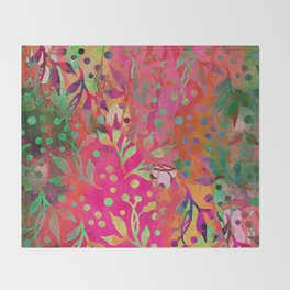 Tropical Summer colorful botanical pattern Throw Blanket
