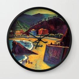 Cinque Terre al Mare Italian Coastline by Hermann Max Pechstein Wall Clock