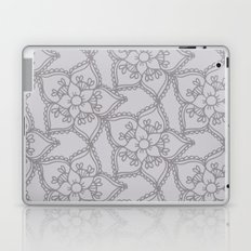 Silver gray lacey floral 2 Laptop & iPad Skin