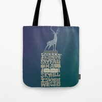 james bond Tote Bags featuring Skyfall - James Bond 007 by Rebecca McGoran