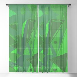 Cages at the Border Green #Abstract #Geometric #PoliticalArt Sheer Curtain