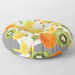 ORANGES & KIWI FRUIT GREY COLLAGE Floor Pillow