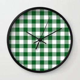 Hunter Green Checker Gingham Plaid Wall Clock