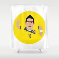 colombia Shower Curtains featuring James Rodriguez - Colombia by Gary  Ralphs Illustrations