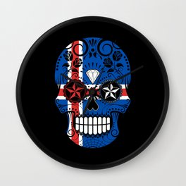 Sugar Skull with Roses and Flag of Iceland Wall Clock