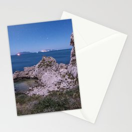 Night sight moon lighted up the landscape home decor Stationery Cards